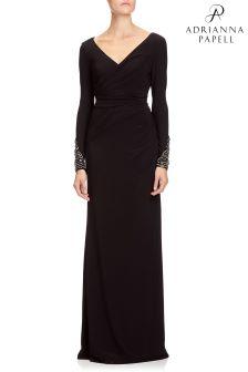 Czarna, długa, drapowana sukienka Adrianna Papell z dekoltem w kształcie litery V