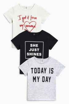 T-Shirts mit Slogan, Dreierpack (0 Monate bis 2 Jahre)