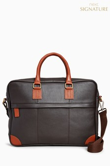 Signature Leather Zip Briefcase