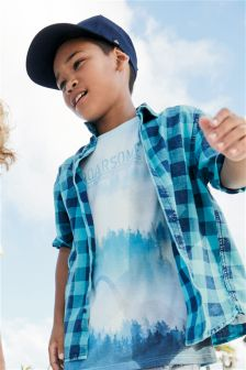 Geruit overhemd met korte mouwen (3-16 jr)