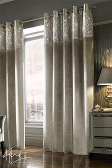 Kylie Esta Silver Eyelet Curtains