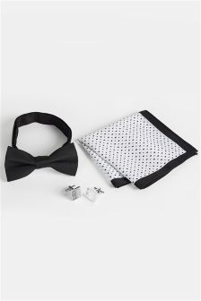 Bow Tie, Pocket Square And Cufflink Set