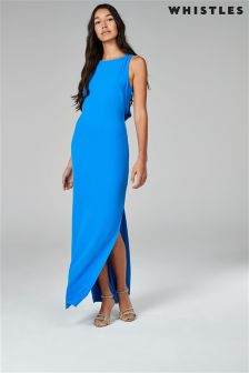 Whistles Blue Tie Back Maxi Dress