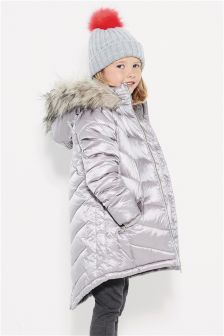 Chevron Long Padded Jacket (3-16yrs)