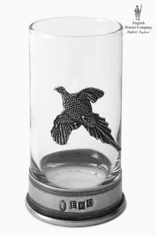 English Pewter Company 8¾oz Whisky Tumbler With Pheasant Emblem
