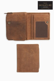 Leather Zip Pocket Wallet