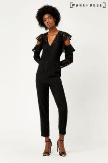 Warehouse Black Geo Lace Jumpsuit