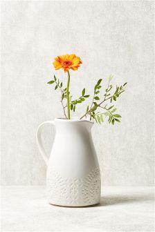 Ručně vyrobený džbán s květy