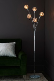 Bedu 5 Light Polished Chrome Floor Lamp With Clear Beads