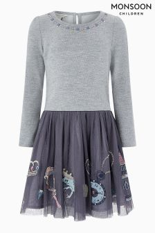 Monsoon Grey Enchanted 2 In 1 Dress