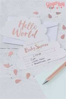 Ginger Ray Gold Hello World 10 Baby Shower Invites