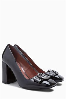 Square Toe Buckle Court Shoes
