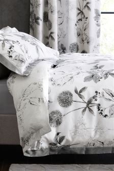 Cotton Sateen Wild Hedgerow Grey Bed Set