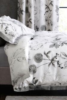 Set lenjerie de pat din bumbac satinat Wild Hedgerow gri