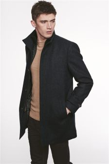Textured Funnel Neck Coat