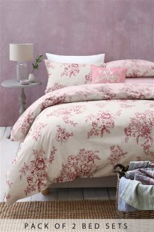2 Pack Dusky Pink Floral Bed Set