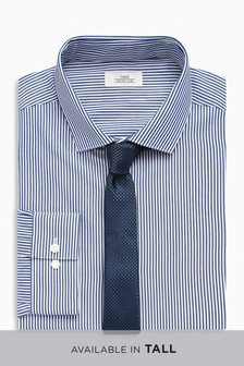 Striped Regular Fit Shirt With Tie Set