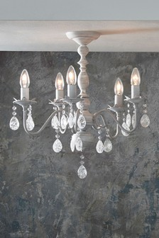Bethany 5 Light Grey Washed Chandelier