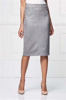 Suedette Pencil Skirt