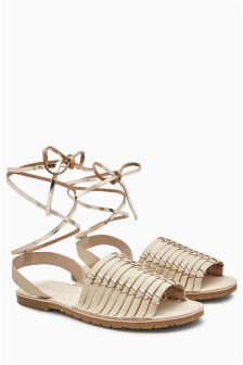 Woven Leather Beach Sandals