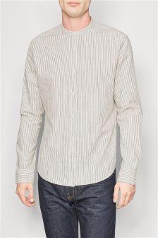 Оксфордская рубашка без воротника с длинным рукавом