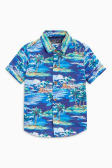 Short Sleeve Palm Tree Print Shirt (3mths-16yrs)