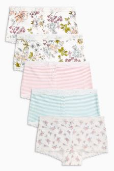 Ditsy/Stripe Boxers Five Pack (3-16yrs)