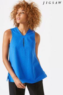 Jigsaw Blue Cotton Seersucker Top