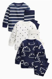 Star/Cloud Snuggle Pyjamas Three Pack (9mths-8yrs)