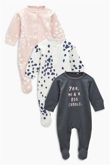 Spot Print Sleepsuits Three Pack (0mths-2yrs)