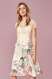 Vintage Caged Prom Printed Dress