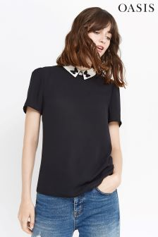 Oasis Black Collared Butterfly Top