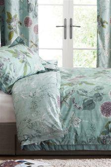 Set de pat turcoaz din bumbac Wild Hedgerow