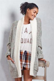 Speckled Knit Cardigan With Sheepy Trim