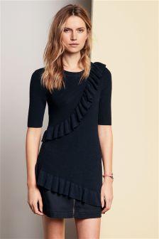 Zip Front Cotton Twill Skirt