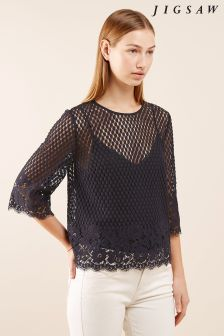 Jigsaw Blue Engineered Floral Lace Top