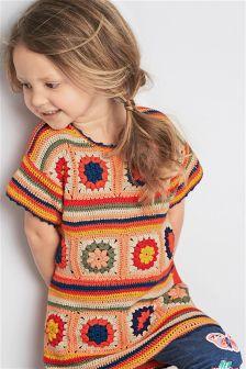 Платье с вязаной отделкой (3 мес.-6 лет)