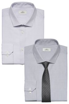 Regular Fit Shirts With Tie Two Pack