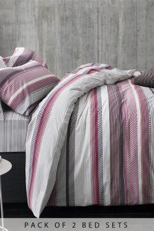 Набор из 2 комплектов постельного белья в полоску