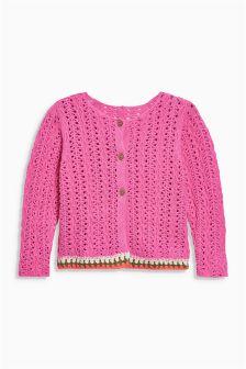 Crochet Trim Pointelle Cardigan (3mths-6yrs)
