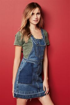 Shadow Patched Denim Pinafore