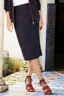 Jacquard Floral Pencil Skirt