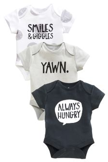 Slogan Short Sleeve Bodysuit Three Pack (0mths-2yrs)