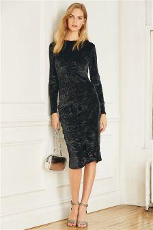 Velvet Long Sleeve Ruched Front Dress