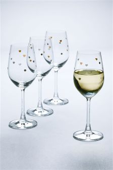 Set Of 4 Crystal Heart Wine Glasses