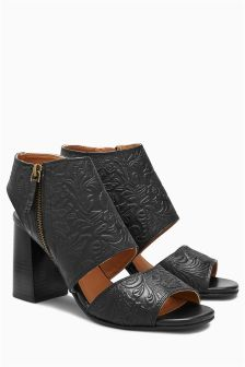 Embossed Leather Shoe Boots