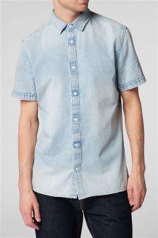 Рубашка с короткими рукавами и состаренным нижним краем