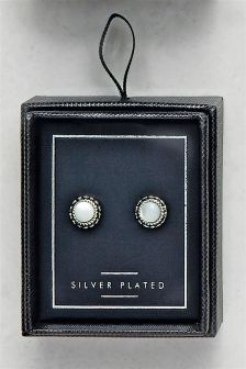 Stone Set Stud Earrings