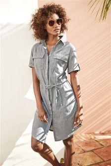 Linen Rich Shirt Dress