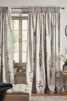 Collection Luxe Vorhänge mit Bleistiftfalten und floralem Fotodruck